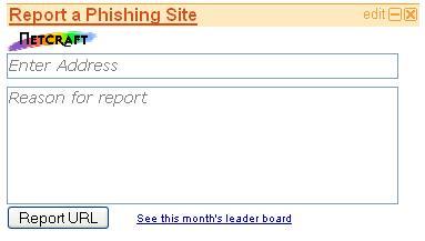 Report Phishing Sites to Netcraft